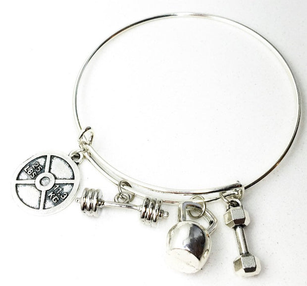 Weightlifting  Bangle Charm Bracelet, Fitness Charms, Dumbbell, Barbell, Kettlebell, Bodybuilding Gift, Gifts for Fitness Lovers, Christmas