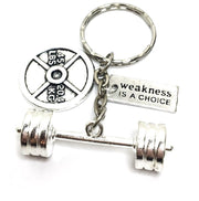Motivational Keychain, Weakness is a Choice, Weightlifter Gifts, Fitness Charms, Fitness Enthusiast Gifts, Stocking Stuffers for Her