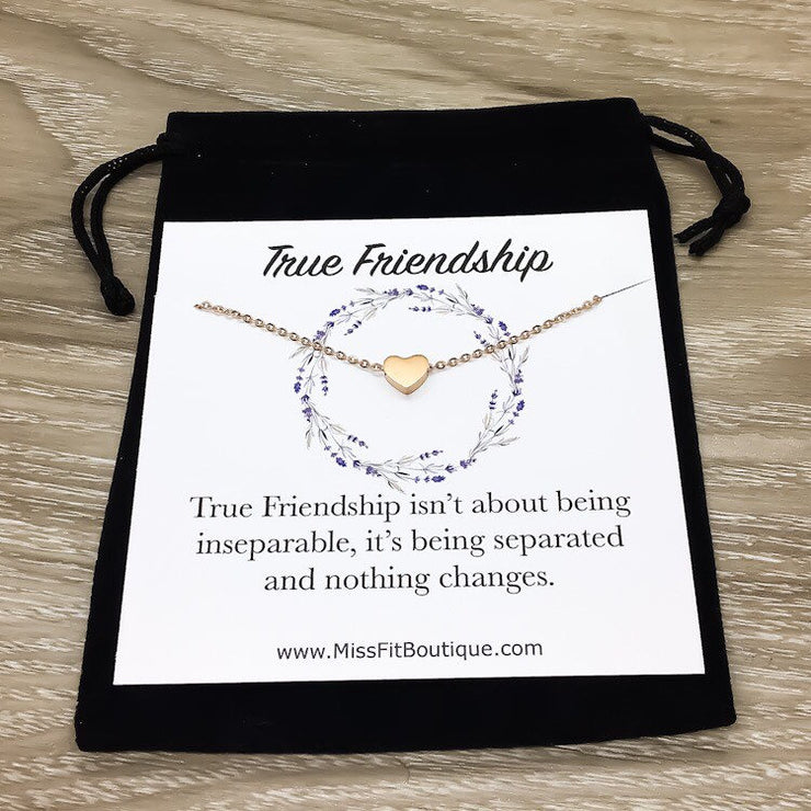 True Friendship Personalized Card, Tiny Silver Heart Necklace, Heart Jewelry, Side by Side or Miles Apart, Gift from Bestfriend, Birthday