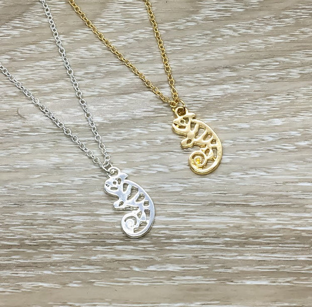 You Are One In A Chameleon Necklace with Card, Dainty Jewelry, Tiny Chameleon Pendant, Birthday Gift, Friendship Necklace, Gift for Daughter
