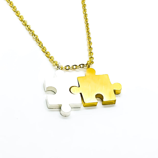 Interlocking Puzzle Necklace, Double Puzzle Piece Necklace, Gift from Best Friend, BFF Gift, Friendship Necklace, Unbiological Sister Gift