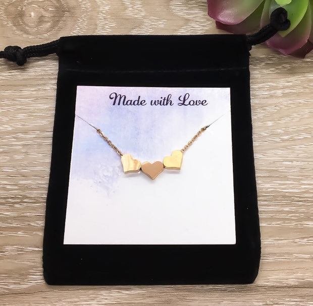 Tiny 3 Hearts Necklace with Card, Dainty Three Heart Necklace, Three Generations Gift, Grandmother Necklace, Gift from Granddaughter, Family