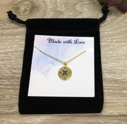 Compass Necklace, No Matter Where, Custom Message Card, Friendship Quote, Best Friend Jewelry, Simple Reminder, Birthday Gift, Sisters Gift