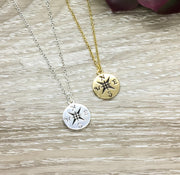 No Matter Where Card, Compass Necklace, Personalized Gift, Compass Pendant, Friendship Necklace, Friend Birthday Gift, Gift for Bestie