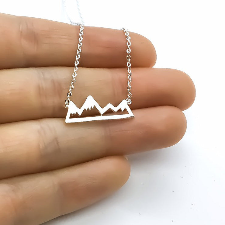 Winter Mountain Necklace, Tiny Snowy Mountain Pendant, New Journey Gift, Inspirational Jewelry, Adventure Necklace, Gift for Best Friend
