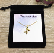 Crossed Arrows Necklace, Friendship Necklace, Gold Arrow Jewelry, New Beginning Gift, Unbiological Sisters Gift, Gift from BFF, Teacher Gift