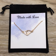 Sisters Necklace Card, Interlocking Double Hearts Pendant, Heart Jewelry, Birthday Friend Gift, Side by Side or Miles Apart