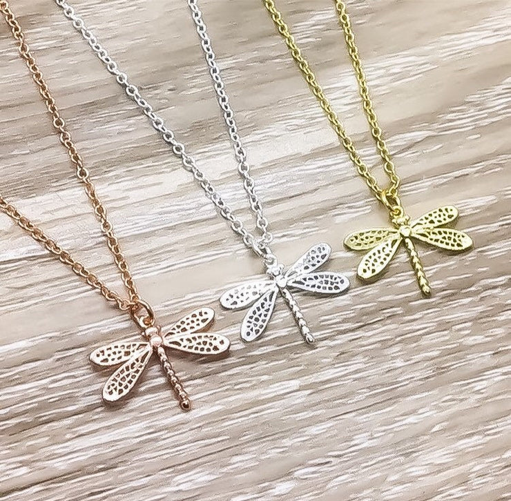 Dragonfly Necklace Rose Gold, Insect Jewelry, Nature Necklace, Bug Jewelry, Minimal Necklace, Simple Reminder Jewelry, Birthday Gift for Her