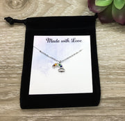 Rainbow Necklace with Card, Rainbow Baby Keepsake, Congratulations Gift for New Mom, Dainty Jewelry, Push Present Necklace, Sterling Silver