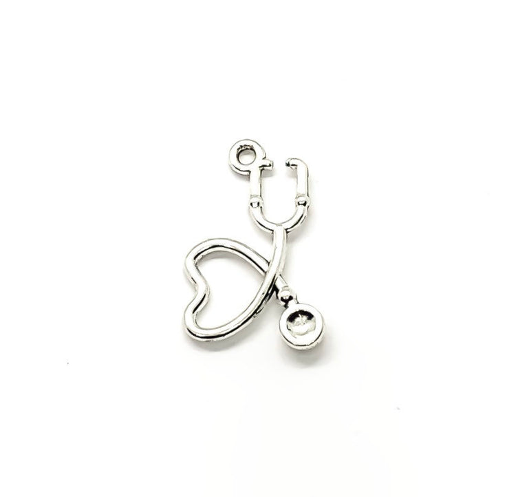 1 Heart Shaped Stethoscope Charm