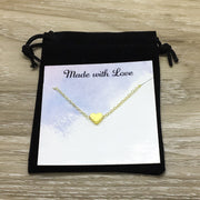 Meaningful Necklace with Personalized Card, Silver Heart Necklace, Long Distance Friends Gift, Dainty Jewelry, Thoughtful Jewellery for Her