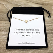 Simple Reminder Necklace with Card, Dainty Heart Necklace, Gift for Daughter, You Are Loved Gift, Gift for Teen Girl, Meaningful Jewelry
