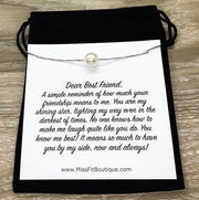 Dear Best Friend Card, Silver Pearl Necklace, Friendship Necklace, Meaningful Gift, Pearl Jewelry, Personalized Friendship Card