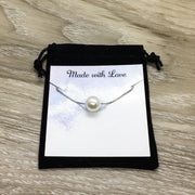 PCOS Warrior Card, Silver Floating Pearl Necklace, PCOS Necklace, Meaningful Gift, PCOS Awareness Gift, Polycystic Ovarian Syndrome Pendant