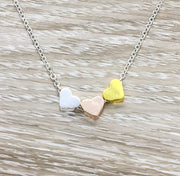 Side By Side or Miles Apart Sisters Gift, 3 Heart Necklace, Connected by the Heart, Gift from Sister, Sorority Jewelry, Dainty Heart Pendant