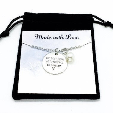The Best Moms Get Promoted to Grandma, New Grandmother Charm Necklace, Gift from Daughter, Gift for Grandma, Pregnancy Announcement Gift