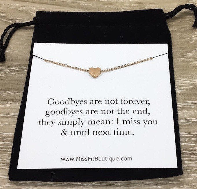 Loss Jewelry, Heart Necklace, Goodbyes Are Not Forever, Keepsake Necklace with Card, Bereavement Gift, Loss of a Loved One Gift, Funeral