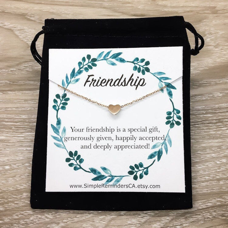 Dainty Heart Necklace, Friendship Necklace with Meaningful Card, Special Friend Gift, Best Friend Birthday Gift for Her, Holiday Gifts