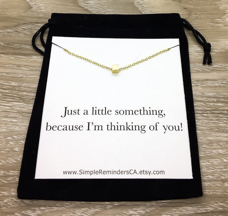 Just Because Card, Tiny Cube Necklace, Thoughtful Gift, Simple Reminder Gift, Necklace with Card, Surprise Gift for Her, Gift for Friend