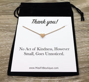 Thank You Gift, Heart Necklace, Necklace with Card, Teacher Gift, Caregiver Gift, Volunteer Gift, Hostess Gift, Intern Gift, Dog Sitter Gift
