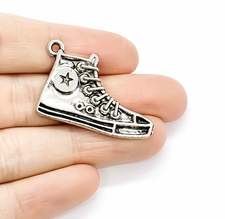 1 Basketball Shoe Charm Silver