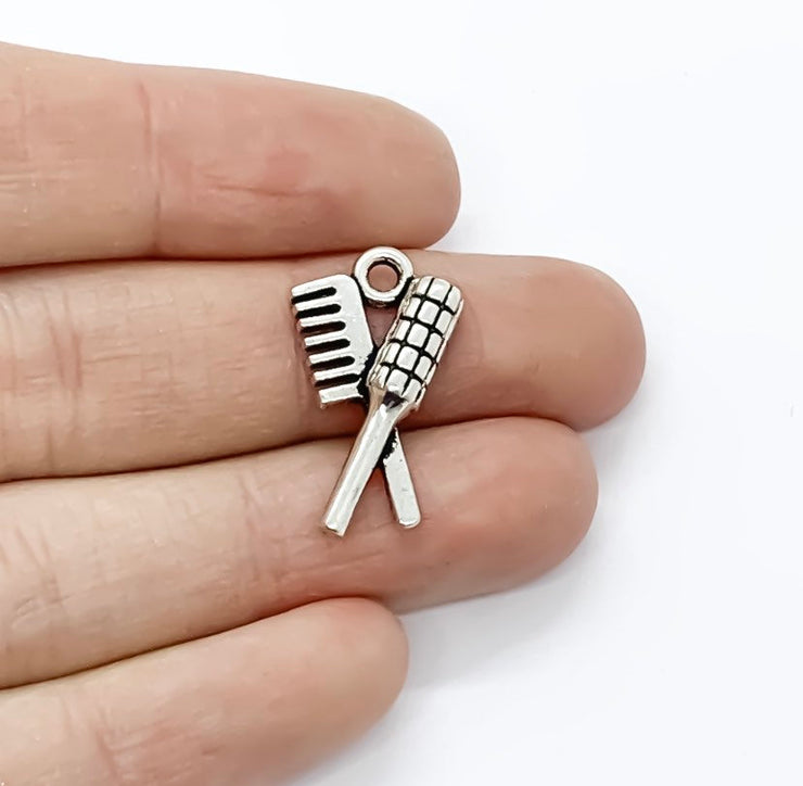 1 Hair Comb and Brush Charm, Salon