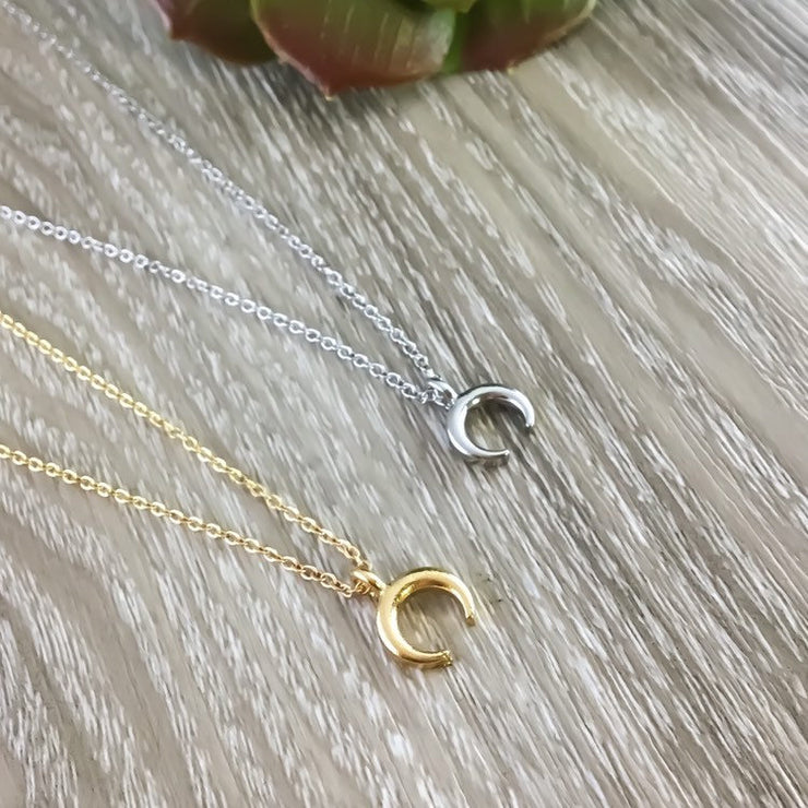 Double Horn Necklace, Moon Jewelry, Crescent Moon Necklace, Lunar Eclipse Pendant, Dainty Celestial Jewelry, Astronomy Gift, Tusk Necklace