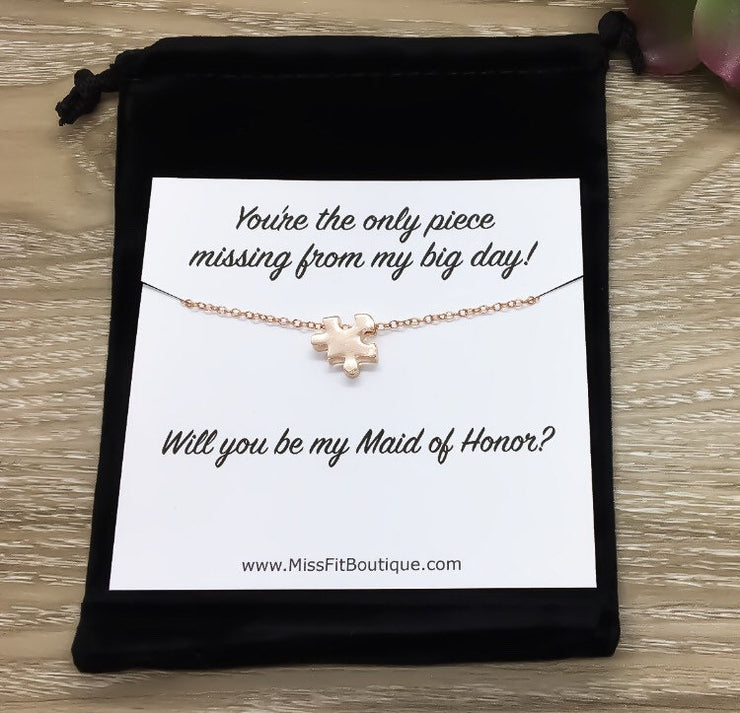 Maid of Honor Proposal Puzzle Necklace, Will You Be My Maid of Honor Gift, Bridal Party Jewelry, Rose Gold Puzzle Piece Necklace, Minimal