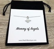 Mommy of Angels Gift, Sterling Silver Pearl Angel Pendant, Multiple Miscarriage Keepsake, Tiny Angel Necklace, Infant Loss Gift, Bereavement
