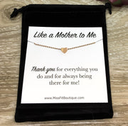 Like a Mother to Me Gift, Dainty Heart Necklace, Unbiological Mother Jewelry,  Step Mom Gift, Meaningful Jewelry, Gift for Bonus Mother