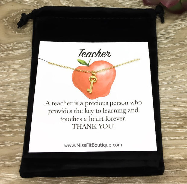 Dainty Teacher Necklace, Key to Learning Gift, Teacher Jewelry, Teacher Appreciation, Dainty Jewelry, Teacher Gift from Student, Knowledge