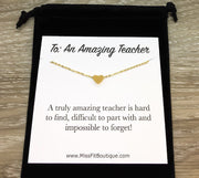 Teacher Gift, Dainty Heart Necklace Rose Gold, Impossible to Forget Quote Card, Gift from Student, Teacher Appreciation Gift, Thank You Gift