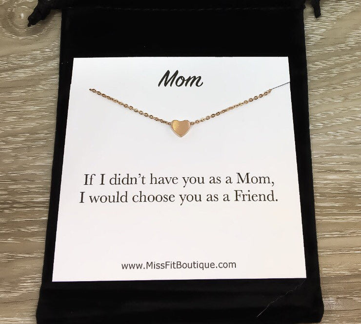 Gift for Mom Card, Dainty Heart Necklace, Heart Shaped Pendant, Friend Gift for Mom Gift, Gift from Daughter, Gift for Mom Best Friend