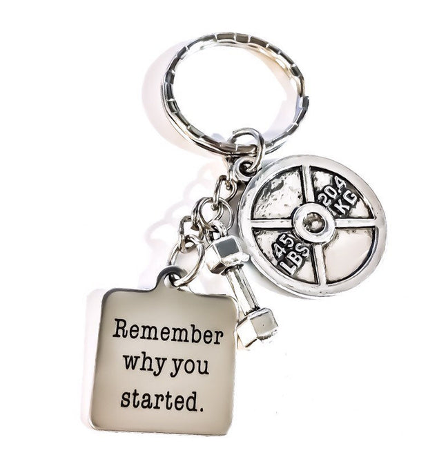 Fitness Keychain, Remember Why You Started, Fitness Lover Gifts, Personal Trainer Gift, Gym Keychain, Weight Loss Motivation, Crossfit