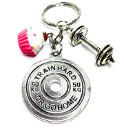 Cupcake Charm, Weightlifting Fitness Keychain, Fitness Gifts, Bodybuilding, Gym Gifts for Women, Presents for Weight Lifters, Carbs Lover