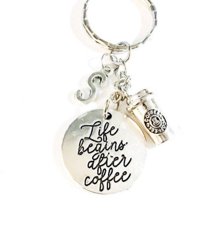 Life Begins After Coffee, Custom Coffee Keychain, Gift for Coffee Lovers, Coffee Addict Gifts, Coffee Keychain, Initial,  Christmas Gifts