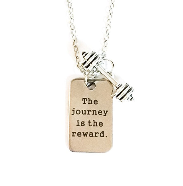 Fitness Quote Necklace, Barbell Charm, Fitness Jewelry, The Journey is the Reward, Inspirational Charm Necklace, Workout Gift for Her