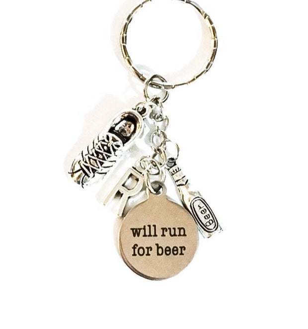 Will Run for Beer, Personalized Running Keychain, Beer Charm, Beer Lover Giftc Running Shoe Charm, Runners Keychain, Secret Santa Gift