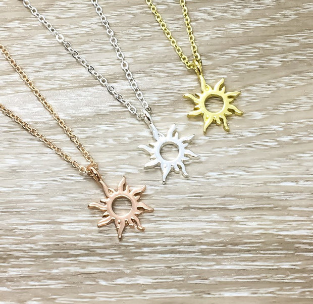 Sun and Moon Necklace Set for 2, Friendship Necklaces, Dainty Celestial Jewelry, Crescent Moon Pendant, Christmas Gift for Best Friend