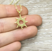 Sunshine Necklace, Rose Gold Sun Necklace, You Brighten Up My Day, Dainty Necklace, Gifts for Her, Birthday, Bestfriends, Simple Reminder