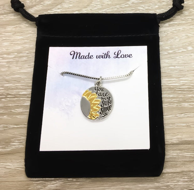 You Are My Sunshine Quote, Sunflower Necklace, Flower Necklace, Personalized Card, Meaningful Gift for Her, Gift for Girlfriend, Holiday