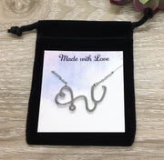 Stethoscope Necklace, Nurse Appreciation Gift, Nursing Jewelry Gift, Thank You Gift from Patient, Medical Student Gift, Gift for Doctor