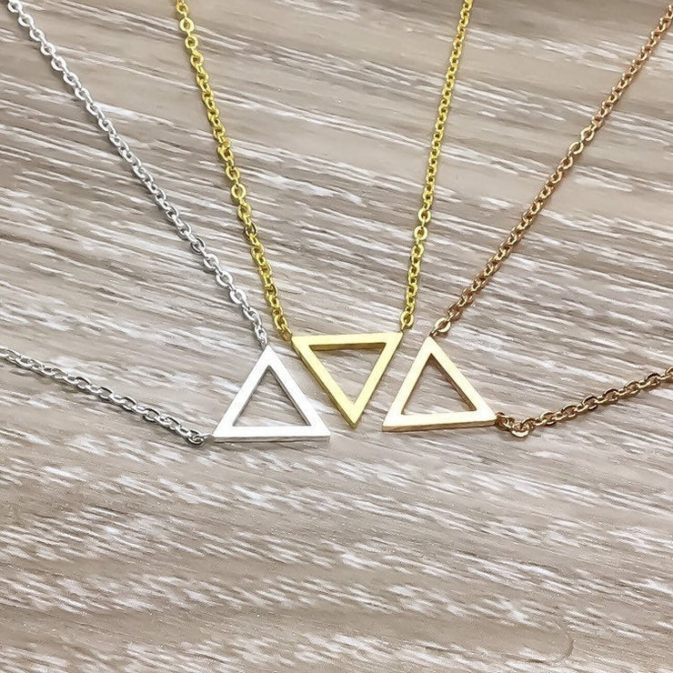 Tiny Triangle Necklace, Dainty Geometric Necklace, Minimalist Jewelry, Girlfriend Gift, Gift for Mom, Friendship Necklace, 3 Friends Gift