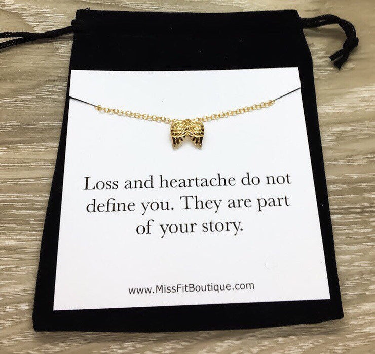 Part of Your Story, Sympathy Card, Angel Wings Necklace, Infant Loss, Strength Gift, Grief Jewelry, Loss of a Mother, Miscarriage Necklace
