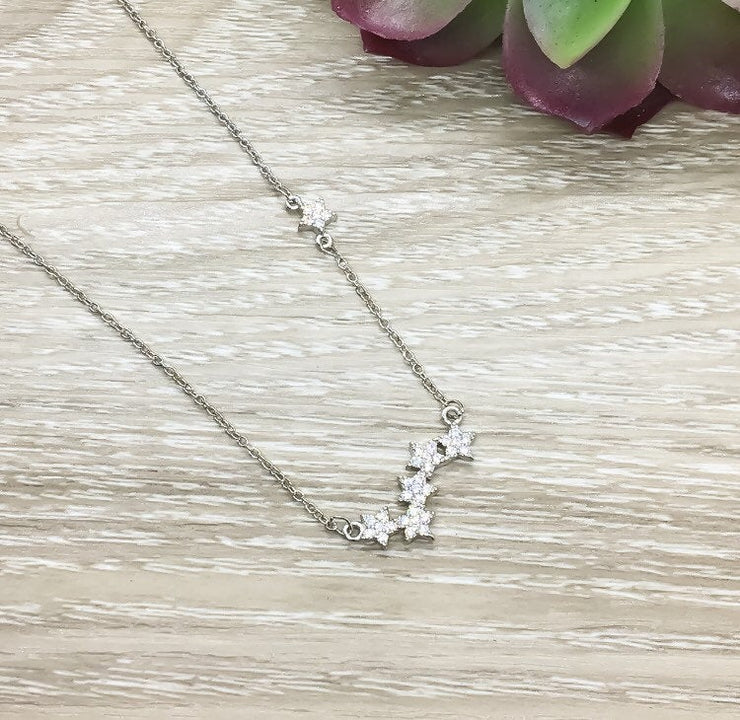Sparkly Stars Necklace, Minimal Studded Stars Necklace, Silver Constellation Necklace, Stocking Filler for Women, Everyday Necklace