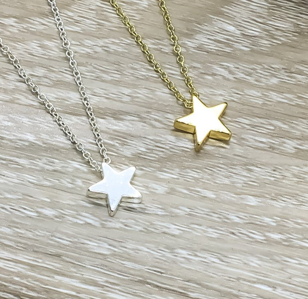 Star Necklace Silver, Dainty Necklace with Card, Best Friends Are Like Stars, BFF Jewelry, Friendship Necklace, Meaningful Bestfriend Gift