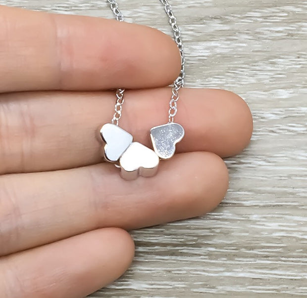 3 Silver Hearts Necklace, Side by Side or Miles Apart Card, Dainty Heart Necklace, Gift for Sister, Sisterhood Jewelry, Three Sisters Gift