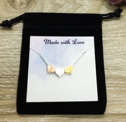 Tiny 3 Hearts Necklace Card, Dainty Heart Necklace, Generations Gift for Mom, Grandmother Necklace, Minimalist Jewelry, Mother Necklace