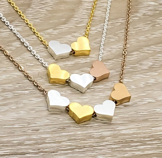 Three Heart Necklace, Rose Gold 3 Hearts Pendant, Mom Necklace, Gift from Daughter, Stepmom Gift, Grandma Jewelry, Sisters Gift, Generations
