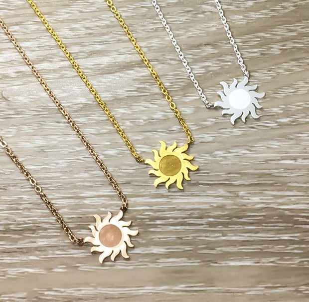 Sunshine Necklace, Rose Gold Sun Necklace, You Are My Sunshine Gift, Dainty Necklace, Gifts for Her, Birthday, Bestfriends, Simple Reminder